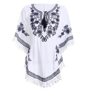 Bohemian Batwing Sleeves Embroidery Blouse (3 Colors)  - Kwikibuy Amazon Global