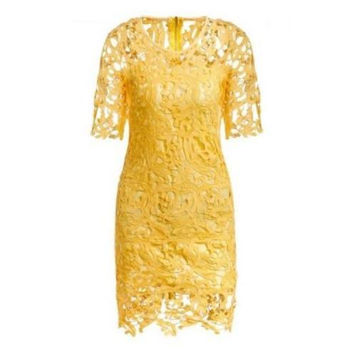 Round Neck Half Sleeve Spliced Hollow Out Lace Dress $39.01 - God Degree Clothing And Accessories™® - GD's™®