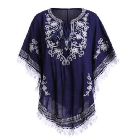 Bohemian Batwing Sleeves Embroidery Blouse $16.11 - God Degree Clothing And Accessories - GD's