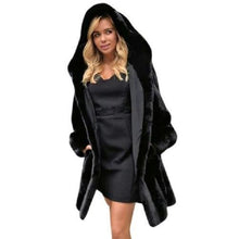 Load image into Gallery viewer, Hooded-Fur-Parka-Black  - Kwikibuy Amazon Global