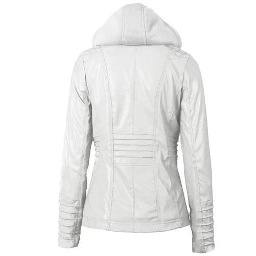 Hooded Leather Jacket (White) | Kwikibuy Amazon | United States | All | Women | Clothing | Jacket | Coat