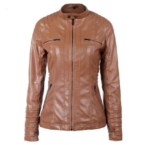 Hooded Leather Jacket (Brown) | Kwikibuy Amazon | United States | All | Women | Clothing | Jacket | Coat
