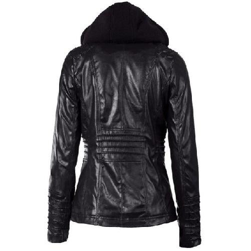 Hooded Leather Jacket (Black) | Kwikibuy Amazon | United States | All | Women | Clothing | Jacket | Coat