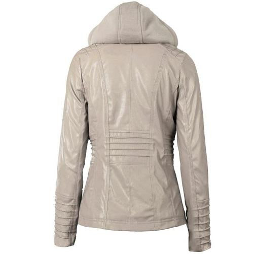 Hooded Leather Jacket (Grey) | Kwikibuy Amazon | United States | All | Women | Clothing | Jacket | Coat