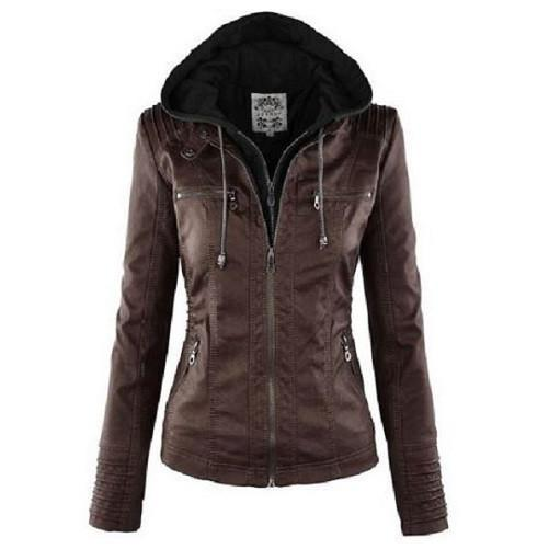 Hooded Leather Jacket (Coffee) | Kwikibuy Amazon | United States | All | Women | Clothing | Jacket | Coat