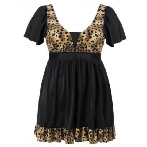 Leopard Print Ruffled Swimwear Golden Brown (Plus Sizes) $39.01 - God Degree Clothing And Accessories™® - GD's™®