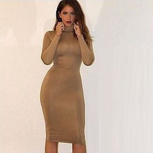 Long Sleeve Bodycon Bandage Turtleneck Dress (Grey)  - Kwikibuy Amazon Global