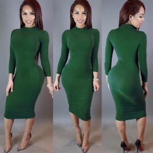 Long Sleeve Bodycon Bandage Turtleneck Dress (Purplish Red)  - Kwikibuy Amazon Global