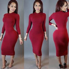 Load image into Gallery viewer, Long Sleeve Bodycon Bandage Turtleneck Dress (Rose Red)  - Kwikibuy Amazon Global