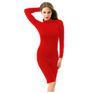 Long Sleeve Bodycon Bandage Turtleneck Dress (Rose Red)  - Kwikibuy Amazon Global