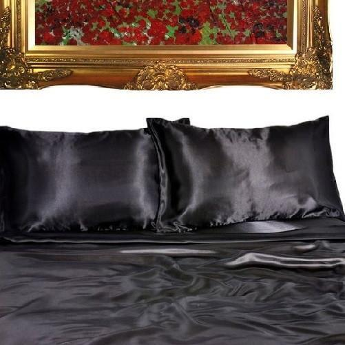 Quality Satin Sheet Sets (Black) - Kwikibuy Amazon