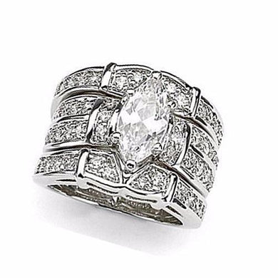 🍀 Marquise Cut White Topaz Crystal 925 Sterling Silver Ring Set *7) Sizes)  - Kwikibuy Amazon Global