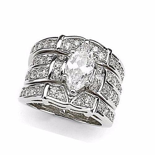 Marquise Cut White Topaz Crystal 925 Sterling Silver Ring Set  - Kwikibuy Amazon Global