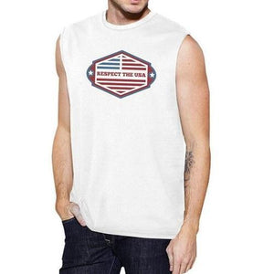 Mens Cotton Sleeveless T-Shirt - (Respect USA - White)  - Kwikibuy Amazon Global