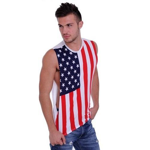 Mens Cotton Sleeveless T-Shirt - (USA Flag)  - Kwikibuy Amazon Global