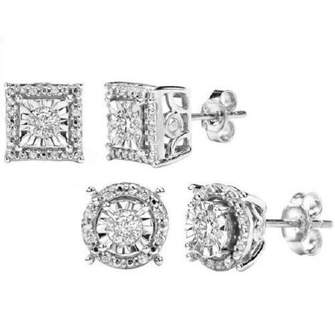 1/4 CTTW Diamond Stud Earrings in Sterling Silver $159.01 - God Degree Clothing And Accessories - GD's