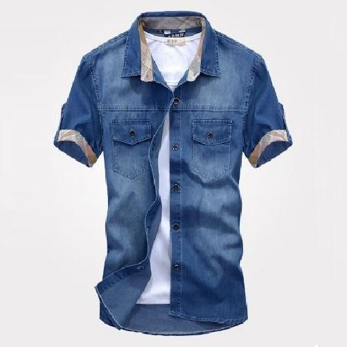 Slim Fit Stylish Wash-Vintage Denim Shirts (Denim Blue) - Kwikibuy Amazon