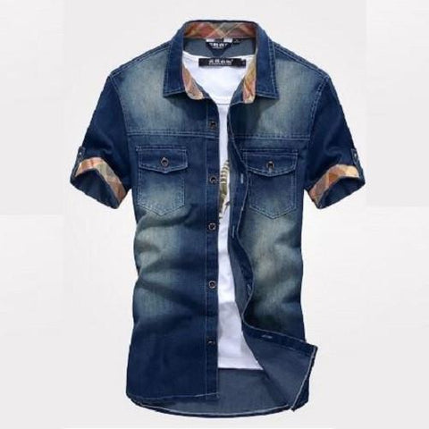 Slim Fit Stylish Wash-Vintage Denim Shirts (Dark Blue) - Kwikibuy Amazon