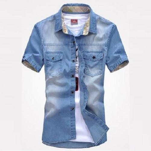 Slim Fit Stylish Wash-Vintage Denim Shirts (Light Blue) - Kwikibuy Amazon