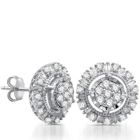 One Carat Diamond Round Framed Stud Earrings - Kwikibuy.com Official Site©