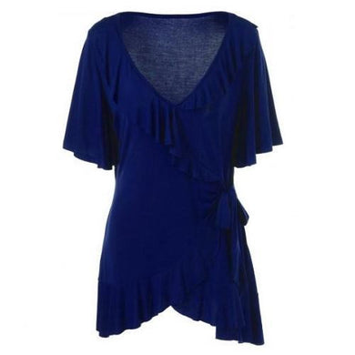 Plus-Size-Ruffled-Blouse-Deep-Blue  - Kwikibuy Amazon Global