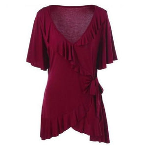 Plus-Size-Ruffled-Blouse-Deep-Red  - Kwikibuy Amazon Global