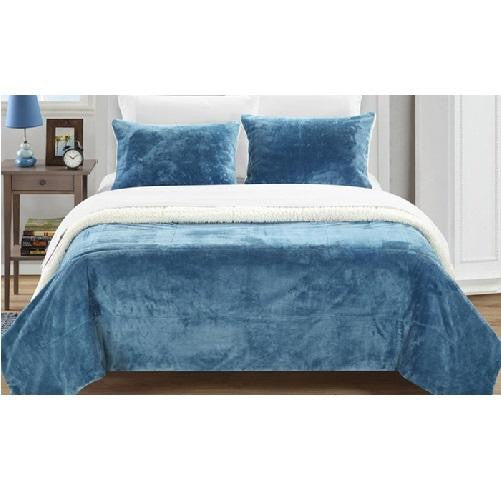 Plush Comforter Set (Blue) | Kwikibuy Amazon
