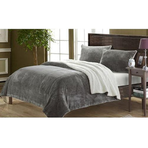 Plush-Comforter-Set-Grey  - Kwikibuy Amazon Global