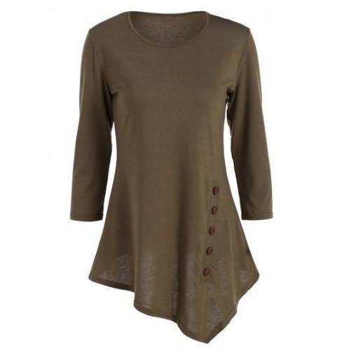 Button Blouse (Army Green) | Kwikibuy Amazon | United States | All | Women | Clothing | Shirt | Top