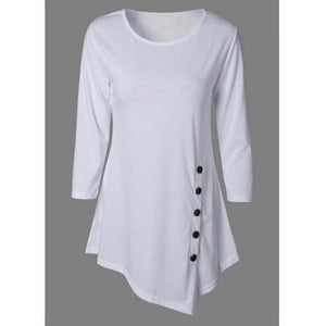 Asymmetric Button Blouse (5 Sizes - 6 Colors)  - Kwikibuy Amazon Global