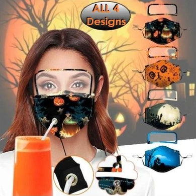 🎃 Set of 4 Halloween Designs Straw Hole Eye Shield Masks - Kwikibuy Amazon Global Online S Hopping Mall Material: Polyester Soft breathable comfortable