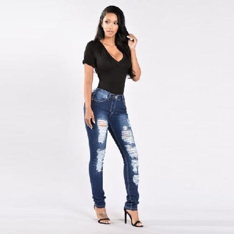 Shabby-Fashions-Bodycon-Ripped-Mid-Waist-Denim-Jeans-Dark-Blue  - Kwikibuy Amazon Global