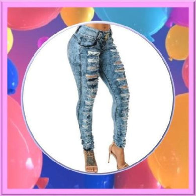 Shabby-Fashions-Bodycon-Ripped-Zipper-Pockets-Denim-Jeans-Blue  - Kwikibuy Amazon Global