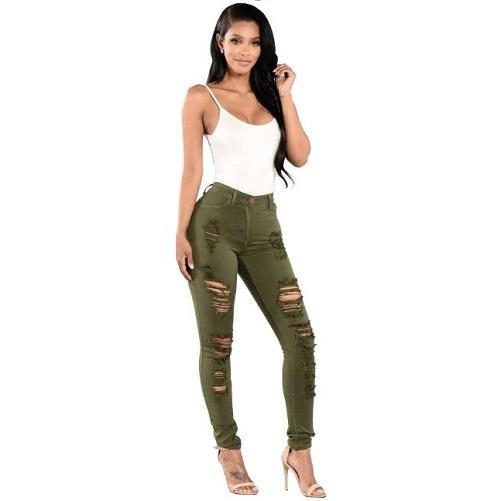 Shabby-Fashions-Ripped-Cotton-Denim-Jeans-Green  - Kwikibuy Amazon Global