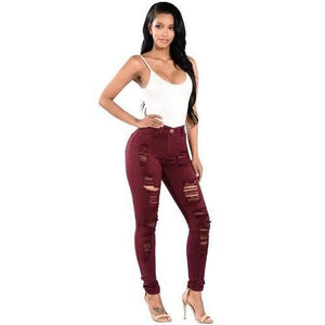 Shabby-Fashions-Ripped-Cotton-Denim-Jeans-Red  - Kwikibuy Amazon Global