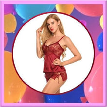 Load image into Gallery viewer, Silk-Lace-Satin-Lingerie-Red-Buy-One-Get-Two  - Kwikibuy Amazon Global