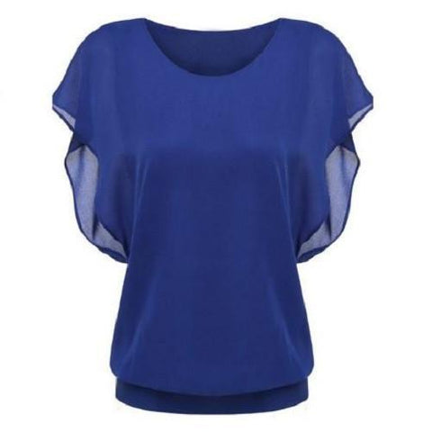 Stylish Bat Sleeve Round Neck Pure Color Chiffon Blouse $19.99 Blue - Kwikibuy.com™®