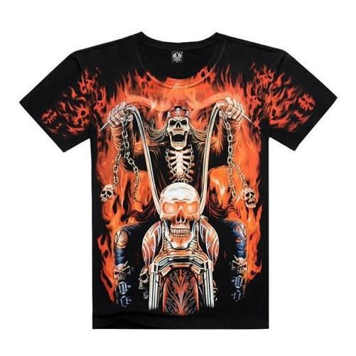 Flames Skull 3-D Printed T-Shirts | Kwikibuy Amazon | United States