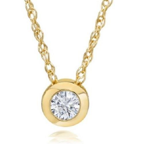 White Diamond Solitaire Bezel Pendant in Solid 14K Gold $201.70 - God Degree Clothing And Accessories - GD's