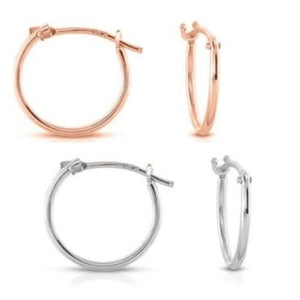 🍀 Solid 14k Rose or White Gold 12 mm French Hoops  - Kwikibuy Amazon Global