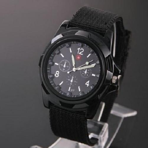 Military Canvas Belt Luminous Quartz Wrist Watch (Black) | Kwikibuy Amazon | United States