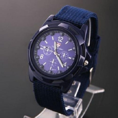 Military Canvas Belt Luminous Quartz Wrist Watch (Blue) | Kwikibuy Amazon | United States