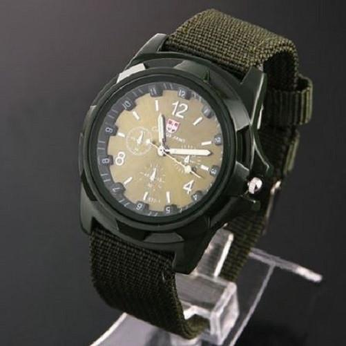 Military Canvas Belt Luminous Quartz Wrist Watch $24.99 Army Green - Kwikibuy.com™®