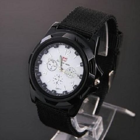 Military Canvas Belt Luminous Quartz Wrist Watch (Silver) | Kwikibuy Amazon | United States