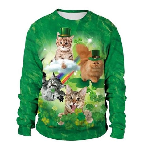 St.-Patrick's-Day-Cute-Cat-Irish-Festival-Sweat-Shirt  - Kwikibuy Amazon Global