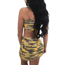 Load image into Gallery viewer, 2 Strapless Crop Top & Mini Skirt Sets (Yellow Camouflage)  - Kwikibuy Amazon Global