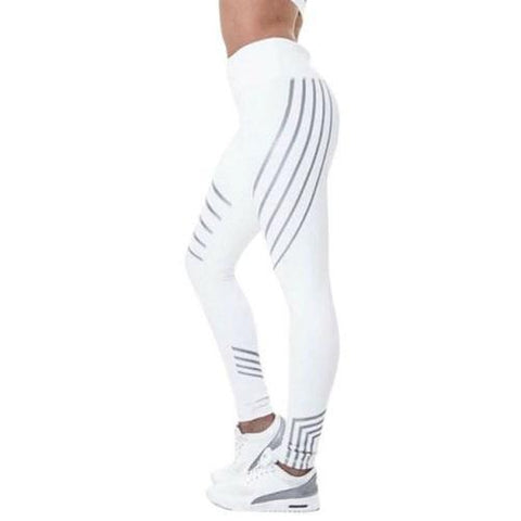 Stripe-Print-Leggings-Silver-and-White-Buy-One-Get-Two  - Kwikibuy Amazon Global