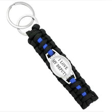 Load image into Gallery viewer, Keep My Police Officer Safe (Black)  - Thin Blue Line Cobra Weave Para-cord Key Ring  - Kwikibuy Amazon Global