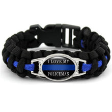 Load image into Gallery viewer, My Hero Wears Blue  - Thin Blue Line Cobra Weave Para-cord Bracelets  - Kwikibuy Amazon Global
