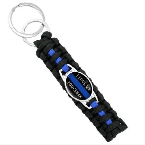 I Love My Policeman (Black)  - Thin Blue Line Cobra Weave Para-cord Key Ring  - Kwikibuy Amazon Global